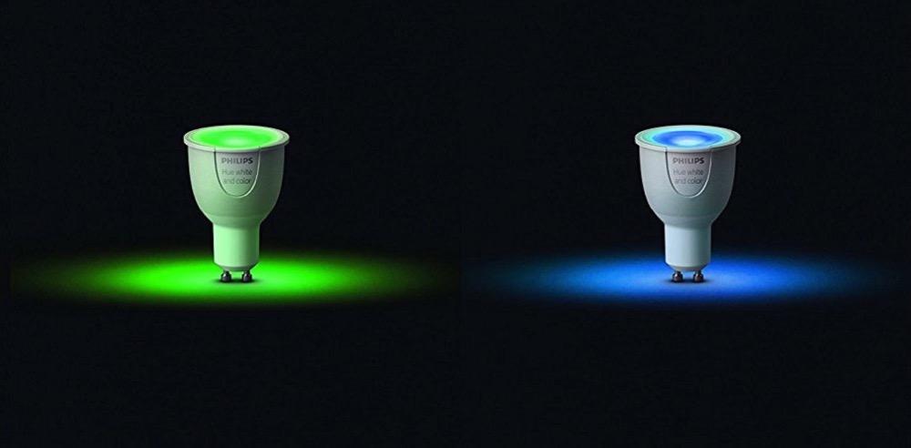 Hueblog: Selten im Angebot: Bunte GU10-Lampen im Set mit Bridge reduziert